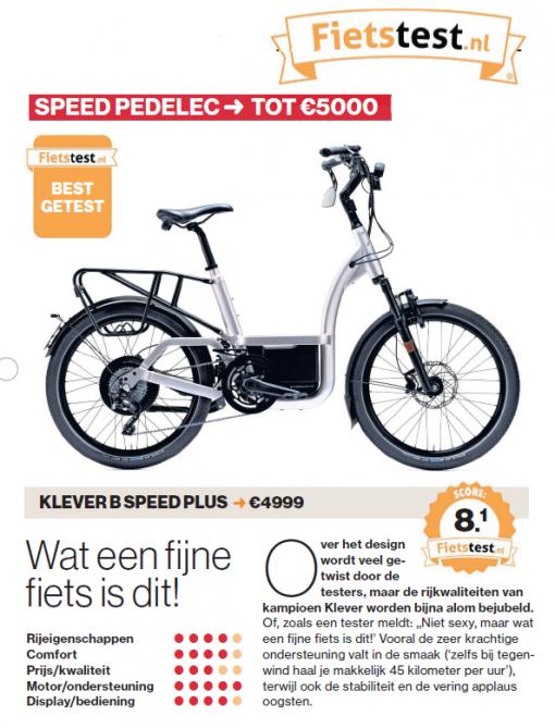 Klever B Speed Plus - Als beste getest door het AD
